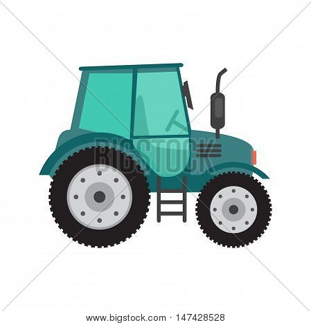 Green tractor on white background. Farming and agriculture equipment. Cartoon flat vector illustration isolated on white background