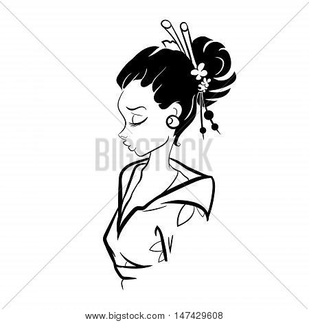 Black and White Asian Geisha Woman Illustration