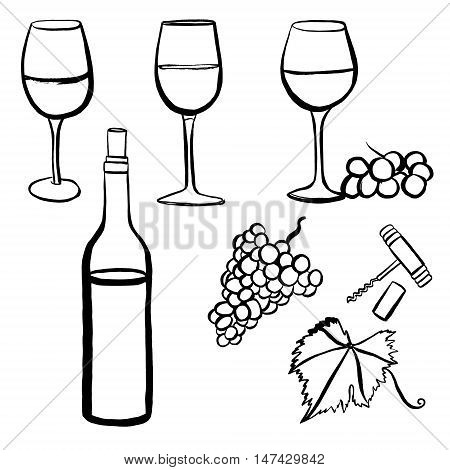 Vector set of freehand drawings of wine glasses, grapes, bottle, corkscrew, cork, and vine leaf with tendril, on white background