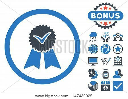 Approvement Seal icon with bonus design elements. Vector illustration style is flat iconic bicolor symbols, smooth blue colors, white background.
