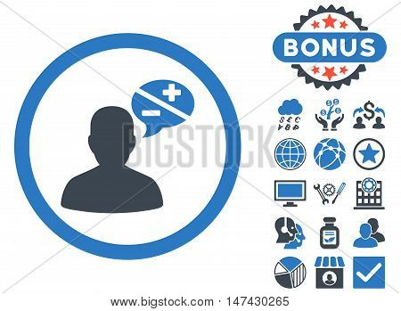 Arguments icon with bonus pictogram. Vector illustration style is flat iconic bicolor symbols, smooth blue colors, white background.