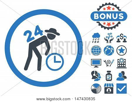 Around the Clock Work icon with bonus pictures. Vector illustration style is flat iconic bicolor symbols, smooth blue colors, white background.