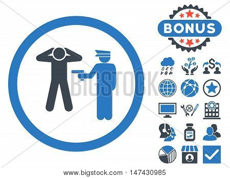 Arrest icon with bonus pictogram. Vector illustration style is flat iconic bicolor symbols, smooth blue colors, white background.