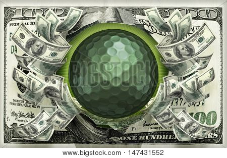 Golfball With Money 3D Illustration