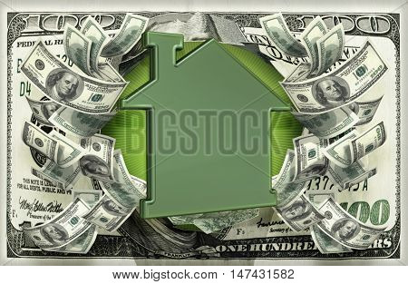 House Symbol With Money 3D Illustration