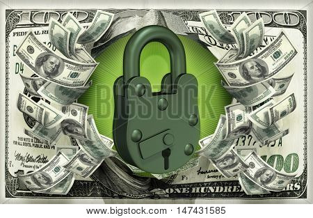 Lock With Money 3D Illustration