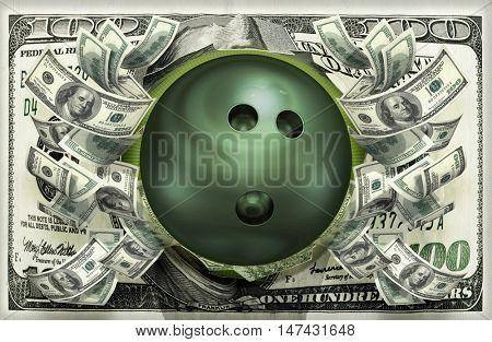 Bowling Ball With Money 3D Illustration