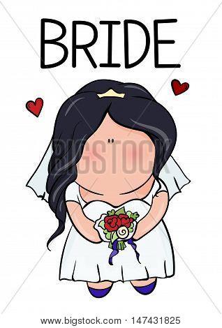 bridal shower. cute girl in wedding dress hending flowers. print on t-shirt. loading. Bachelorette party. red heart. banner or sticker.