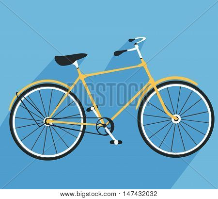 Bicycle icon. Detailed Bicycle icon solid and flat color design.Bicycle flat design. Bike logo. Vector illustration