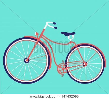Cartoon flat retro bicycle. Vector. Bicycle flat design cartoon vector illustration. Eps10. Isolated on a white background.