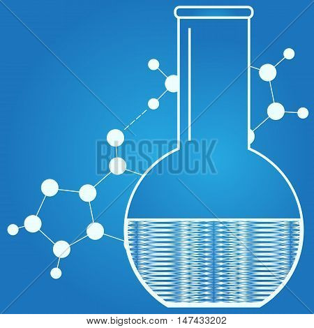Beaker isolated. Laboratory flask. Abstract medical design. Vector illustration.