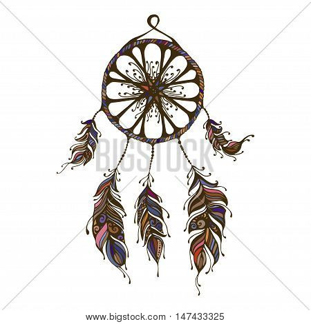 Hand drawn dreamcatcher. Abstract background with feathers. Ethnic design for card, invitation, party, presentation, greeting, boho. Vector illustration