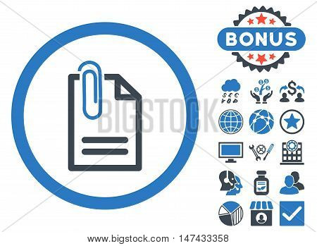 Attach Document icon with bonus symbols. Vector illustration style is flat iconic bicolor symbols, smooth blue colors, white background.
