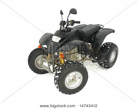 Atv Black All Terrain Vehicle On White Snow