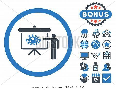 Bacteria Lecture icon with bonus pictogram. Vector illustration style is flat iconic bicolor symbols, smooth blue colors, white background.