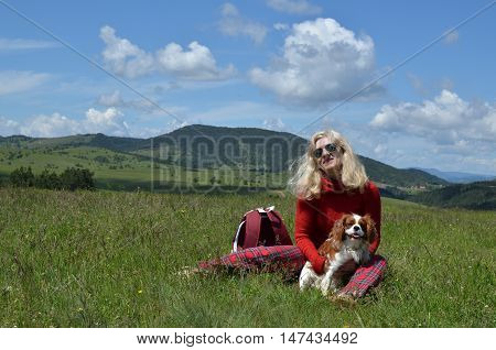 Woman, Dog And Landscape