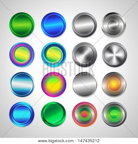 Realistic metal button with circular processing. Round buttons for website. Matted colored blank web buttons