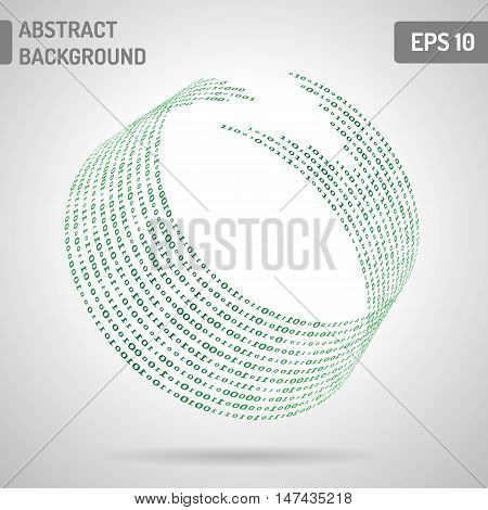 Digital code background abstract vector illustration. Binary computer code. Digital ring
