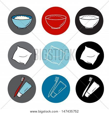 healthy life icons set. food, hygiene, sleep. round elements. red blue color flat style