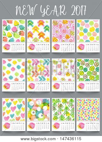 New Year 2017 Yearly Calendar design, Set of 12 months template with colorful hand drawn elements.