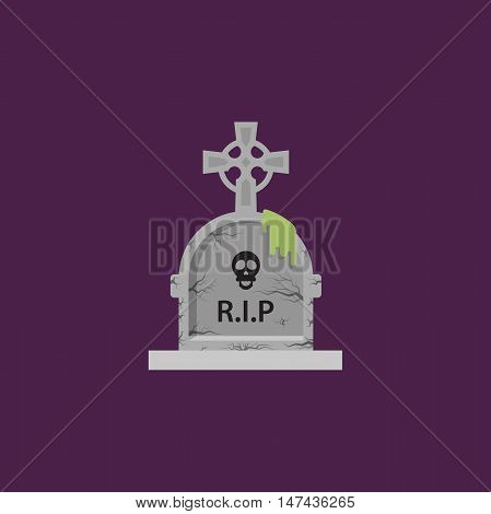 Stock vector illustration a stone tombstone for halloween in a flat style