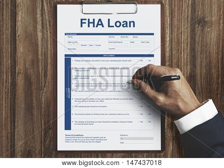 FHA Loan Borrower Document Questionnaire Concept
