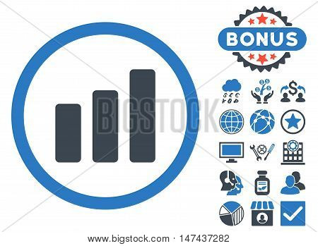 Bar Chart Increase icon with bonus symbols. Vector illustration style is flat iconic bicolor symbols, smooth blue colors, white background.