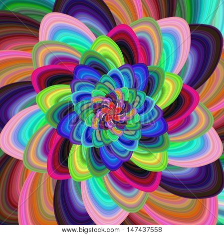 Colorful computer generated floral spiral fractal design background