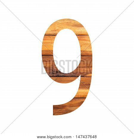 Number 9 ( nine ) with vintage wood texture background.
