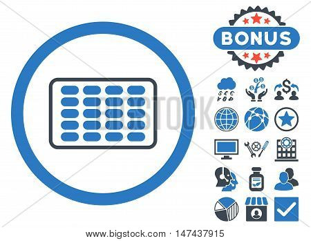 Blister icon with bonus images. Vector illustration style is flat iconic bicolor symbols, smooth blue colors, white background.