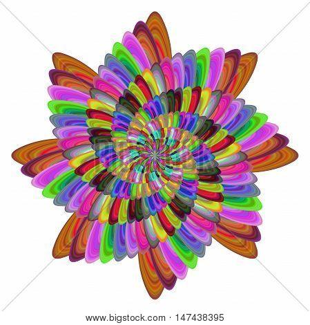 Multicolored computer generated spiral fractal flower design