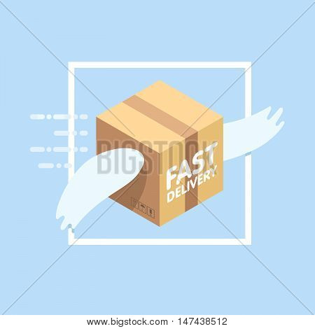 Fast delivery service flat vector illustration. Parcel with wings flies in sky among clouds.