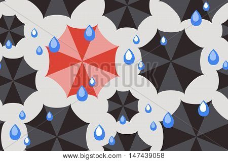 Seamless weather pattern with one red umbrella among black and rain drops in flat style. Not like everyone else concept. Vector illustration