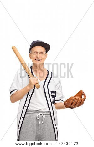 Smiling senior in a baseball jersey posing with a baseball bat and a glove isolated on white background