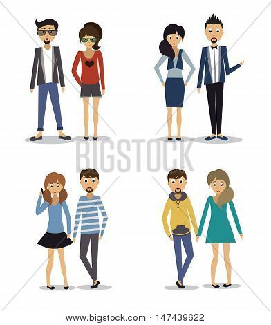 Group of fashion cartoon young people .
