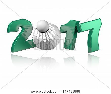 3D illustration of Badminton 2017 design with a white Background