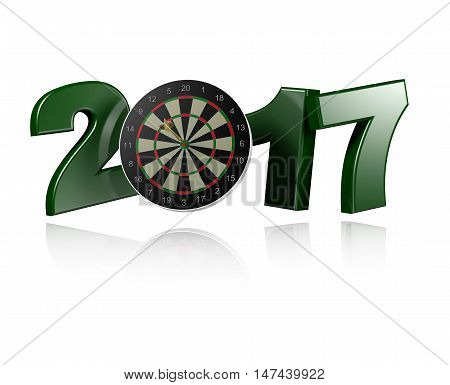 3D illustration of Dart Target 2017 design with a white Background