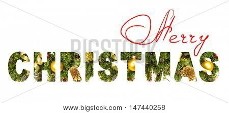 Merry Christmas letters with real xmas photo inside - Christmas banner or head decoration, isolated on white