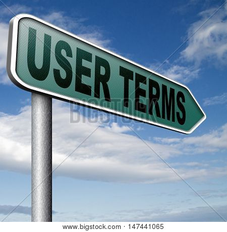 Terms of use or user terms and agreement 3D illustration