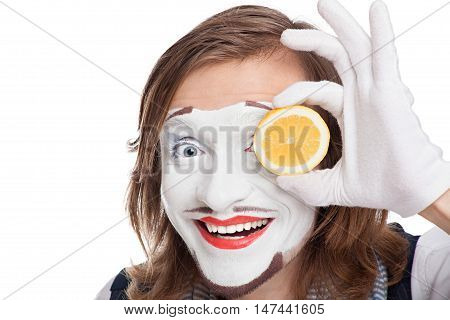 mime actor smiles attaching to face lemon