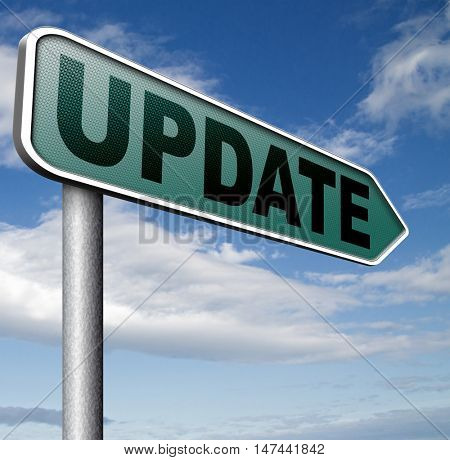 Update  updating software now and here to the latest newest version or new edition 3D illustration
