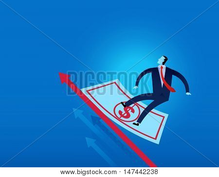 Businessman Surf Over Us Dollar Bank Note And Financial Graph Vector Illustration