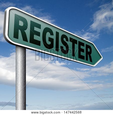 register now onine member registration sign  3D illustration