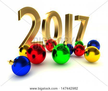 2017 new year, christmas balls, 3d illustration on white