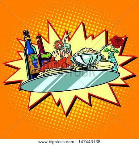 Large food tray with wine and dinner, pop art retro vector illustration. Food and service. Holiday celebration