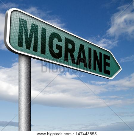 migraine acute or chronic headache need for painkiller or prevent pain 3D illustration