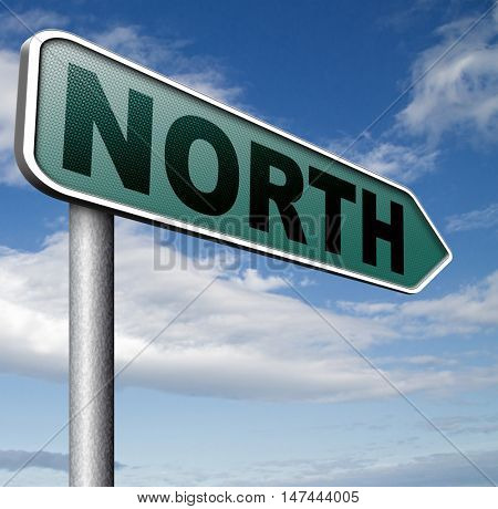 north geographical compass direction north pole  3D illustration