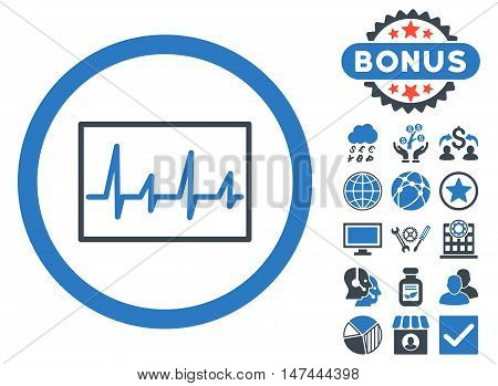 Cardiogram icon with bonus design elements. Vector illustration style is flat iconic bicolor symbols, smooth blue colors, white background.