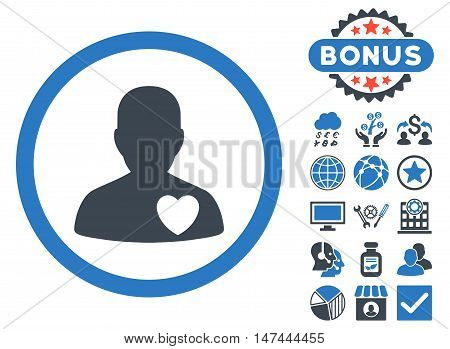 Cardiology Patient icon with bonus images. Vector illustration style is flat iconic bicolor symbols, smooth blue colors, white background.