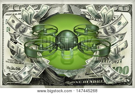 Drone With Money 3D Illustration